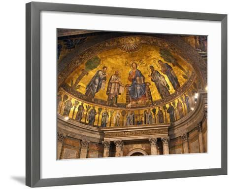 Detail of Apse Mosaic with Portraits of Popes, Basilica Di San Paolo Fuori Le Mura, Rome, Italy-Miva Stock-Framed Art Print