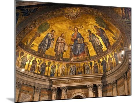 Detail of Apse Mosaic with Portraits of Popes, Basilica Di San Paolo Fuori Le Mura, Rome, Italy-Miva Stock-Mounted Photographic Print
