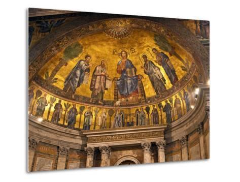 Detail of Apse Mosaic with Portraits of Popes, Basilica Di San Paolo Fuori Le Mura, Rome, Italy-Miva Stock-Metal Print