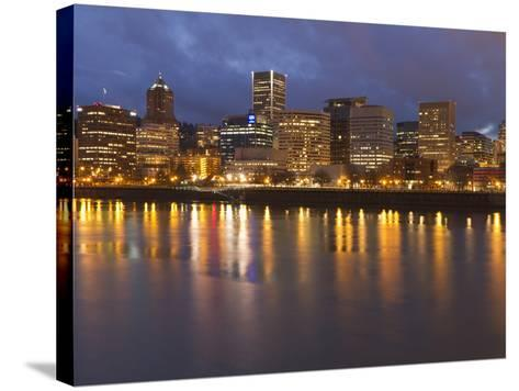City Lights Reflected in the Willamette River, Portland, Oregon, USA-William Sutton-Stretched Canvas Print