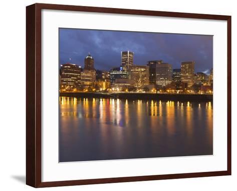City Lights Reflected in the Willamette River, Portland, Oregon, USA-William Sutton-Framed Art Print