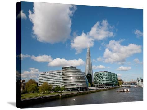 View of the Shard, City Hall and More London Along the River Thames, London, England, UK-Adina Tovy-Stretched Canvas Print