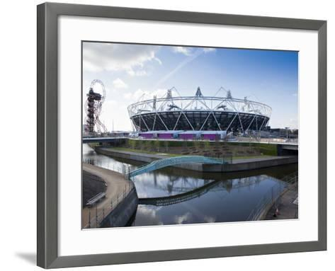 The Olympic Stadium with the Arcelor Mittal Orbit and the River Lee, London, England, UK-Mark Chivers-Framed Art Print