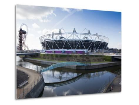 The Olympic Stadium with the Arcelor Mittal Orbit and the River Lee, London, England, UK-Mark Chivers-Metal Print