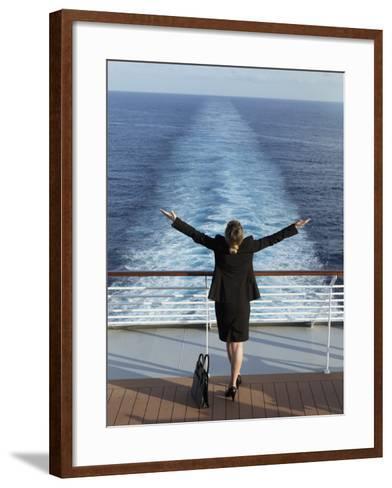 Business Woman on a Cruise Ship, Nassau, Bahamas, West Indies, Caribbean, Central America-Angelo Cavalli-Framed Art Print