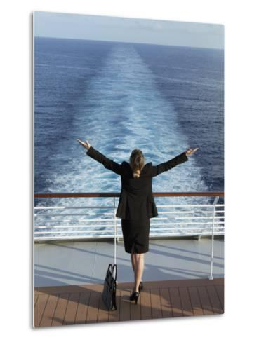Business Woman on a Cruise Ship, Nassau, Bahamas, West Indies, Caribbean, Central America-Angelo Cavalli-Metal Print