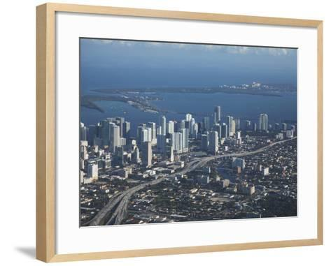 Aerial View of Miami, Florida, United States of America, North America-Angelo Cavalli-Framed Art Print