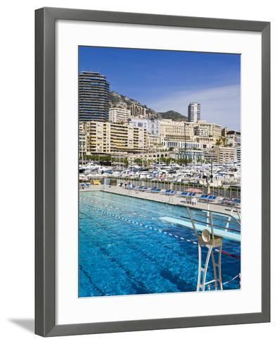 Swimming Pool in La Condamine Area, Monte Carlo, Monaco, Mediterranean, Europe-Richard Cummins-Framed Art Print