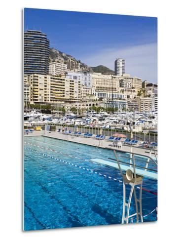 Swimming Pool in La Condamine Area, Monte Carlo, Monaco, Mediterranean, Europe-Richard Cummins-Metal Print