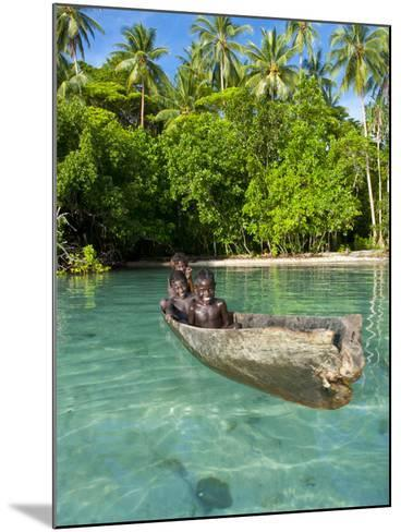 Young Boys Fishing in the Marovo Lagoon, Solomon Islands, Pacific-Michael Runkel-Mounted Photographic Print