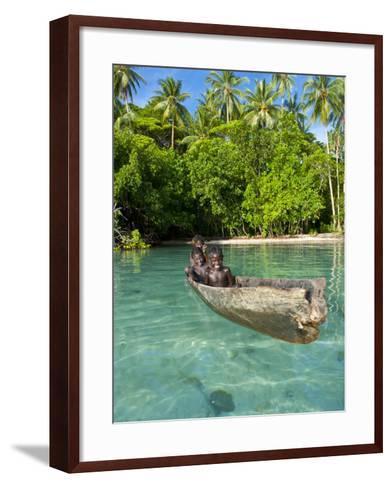 Young Boys Fishing in the Marovo Lagoon, Solomon Islands, Pacific-Michael Runkel-Framed Art Print