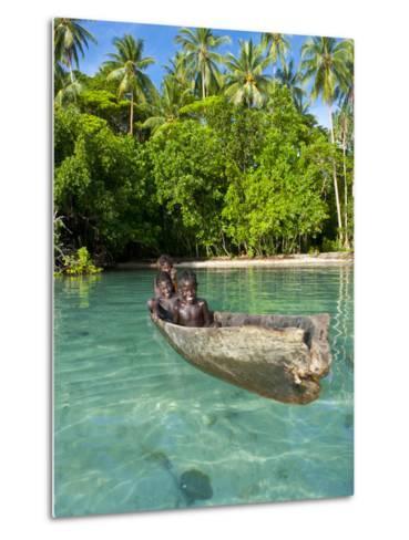 Young Boys Fishing in the Marovo Lagoon, Solomon Islands, Pacific-Michael Runkel-Metal Print