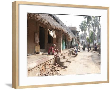 Artists Houses with Thatched Roofs in Main Street of Artists' Village, Raghurajpur, Orissa, Inda-Annie Owen-Framed Art Print