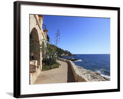 Coastal Path, Cap D'Ail, Cote D'Azur, Provence, French Riviera, Mediterranean, France, Europe-Wendy Connett-Framed Art Print
