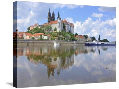 Cruise Ship on the Elbe before the Albrechtsburg in Meissen, Saxony-Michael Runkel-Stretched Canvas Print
