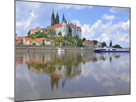 Cruise Ship on the Elbe before the Albrechtsburg in Meissen, Saxony-Michael Runkel-Mounted Photographic Print