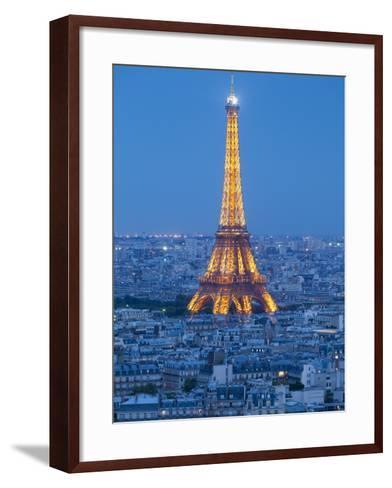 Illuminated Eiffel Tower, Viewed over Rooftops, Paris, France, Europe-Gavin Hellier-Framed Art Print