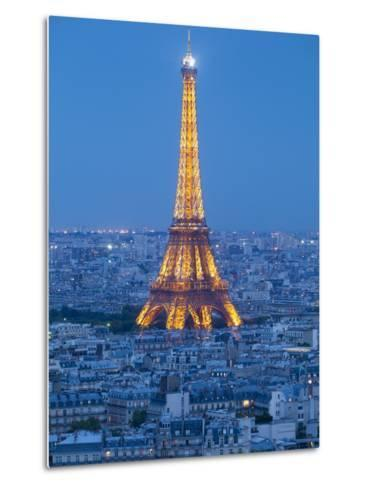 Illuminated Eiffel Tower, Viewed over Rooftops, Paris, France, Europe-Gavin Hellier-Metal Print
