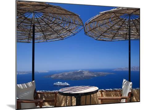 Terrace Overlooking the Caldera, Santorini, Cyclades, Greek Islands, Greece, Europe-Sakis Papadopoulos-Mounted Photographic Print