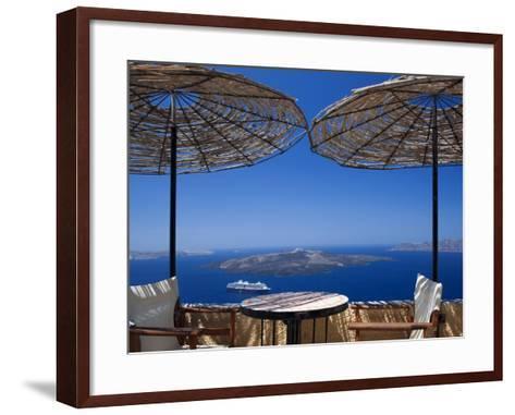 Terrace Overlooking the Caldera, Santorini, Cyclades, Greek Islands, Greece, Europe-Sakis Papadopoulos-Framed Art Print