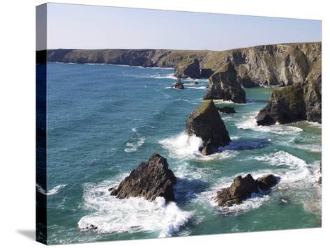 Bedruthan Steps, Cornwall, England, United Kingdom, Europe-Jeremy Lightfoot-Stretched Canvas Print