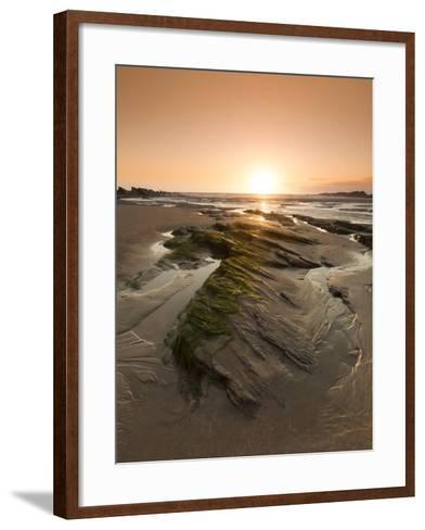 Seaside Rocks on Crackington Haven Beach at Sunset, Cornwall, England, United Kingdom, Europe-Ian Egner-Framed Art Print