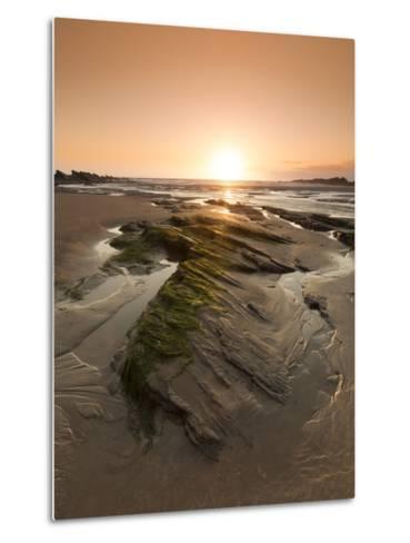Seaside Rocks on Crackington Haven Beach at Sunset, Cornwall, England, United Kingdom, Europe-Ian Egner-Metal Print