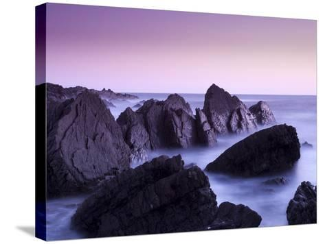 Waves Moving over Jagged Rocks at Hartland Quay, Cornwall, England, United Kingdom, Europe-Ian Egner-Stretched Canvas Print