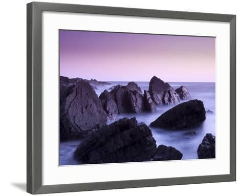Waves Moving over Jagged Rocks at Hartland Quay, Cornwall, England, United Kingdom, Europe-Ian Egner-Framed Art Print