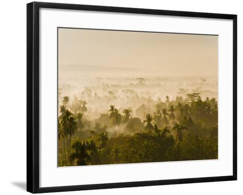 Early Morning Mist on the Kedu Plain at Sunrise from the Borobudur Temple, Java, Indonesia-Matthew Williams-Ellis-Framed Art Print