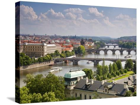 View of the River Vltava and Bridges, Prague, Czech Republic, Europe-Gavin Hellier-Stretched Canvas Print