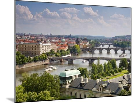 View of the River Vltava and Bridges, Prague, Czech Republic, Europe-Gavin Hellier-Mounted Photographic Print