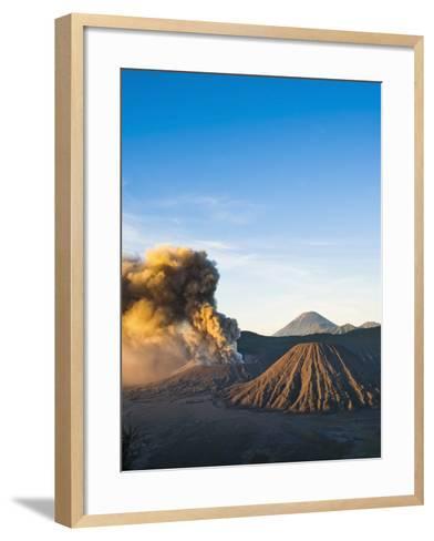 Mount Bromo Volcano Erupting at Sunrise, Sending Volcanic Ash High into Sky, East Java, Indonesia-Matthew Williams-Ellis-Framed Art Print
