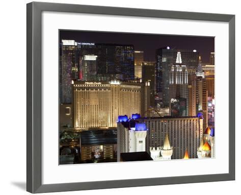 Elevated View of Casinos on the Strip at Night, Las Vegas, Nevada, USA, North America-Gavin Hellier-Framed Art Print