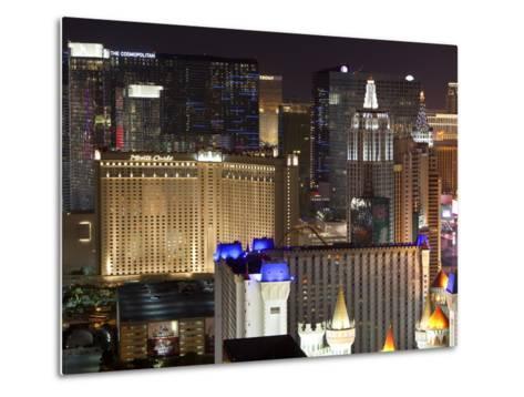 Elevated View of Casinos on the Strip at Night, Las Vegas, Nevada, USA, North America-Gavin Hellier-Metal Print