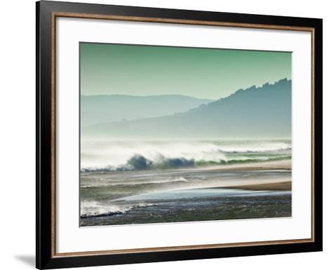Storm Force Levante Winds Blowing Tops of Waves, Estrecho Natural Park, Los Lanses Beach, Spain-Giles Bracher-Framed Art Print