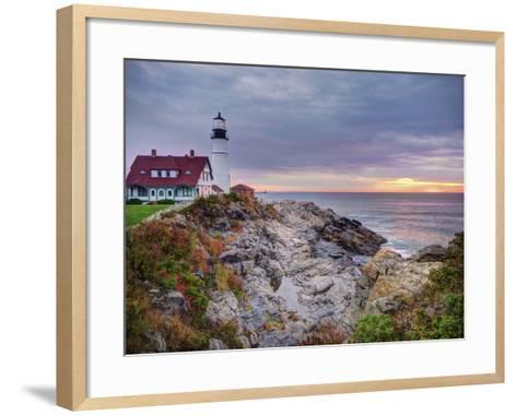 Portland Head Lighthouse at Sunrise, Portland, Maine, New England, USA, North America-Alan Copson-Framed Art Print