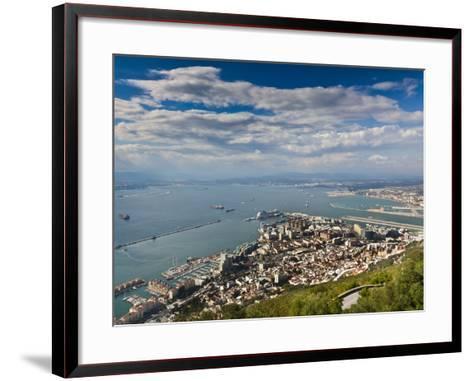 Bay of Gibraltar and Gibraltar Town from the Top of the Rock, Gibraltar, Europe-Giles Bracher-Framed Art Print