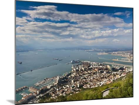 Bay of Gibraltar and Gibraltar Town from the Top of the Rock, Gibraltar, Europe-Giles Bracher-Mounted Photographic Print
