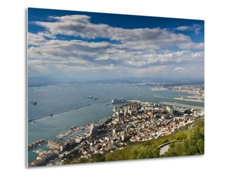 Bay of Gibraltar and Gibraltar Town from the Top of the Rock, Gibraltar, Europe-Giles Bracher-Metal Print