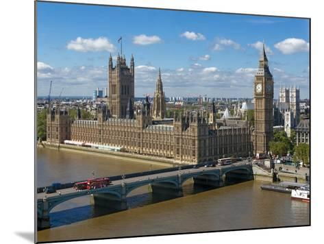 Buses Crossing Westminster Bridge by Houses of Parliament, London, England, United Kingdom, Europe-Walter Rawlings-Mounted Photographic Print