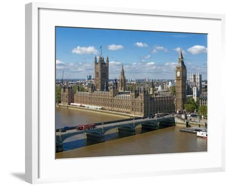Buses Crossing Westminster Bridge by Houses of Parliament, London, England, United Kingdom, Europe-Walter Rawlings-Framed Art Print