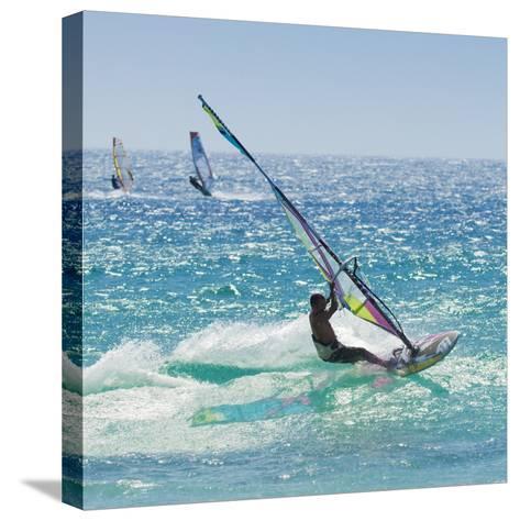 Windsurfer Riding Wave, Bonlonia, Near Tarifa, Costa de La Luz, Andalucia, Spain, Europe-Giles Bracher-Stretched Canvas Print