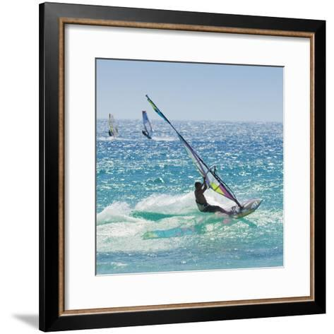 Windsurfer Riding Wave, Bonlonia, Near Tarifa, Costa de La Luz, Andalucia, Spain, Europe-Giles Bracher-Framed Art Print