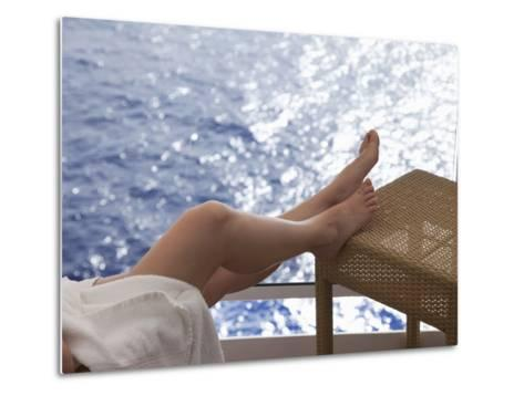Woman on a Cruise Ship, Nassau, Bahamas, West Indies, Caribbean, Central America-Angelo Cavalli-Metal Print