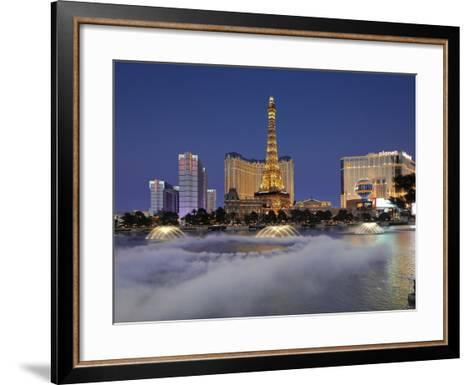 Bellagio Fountains Perform in Front of the Eiffel Tower Replica, Las Vegas, Nevada, USA-Gavin Hellier-Framed Art Print