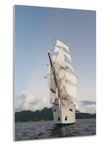 Star Clipper Sailing Cruise Ship, Dominica, West Indies, Caribbean, Central America-Sergio Pitamitz-Metal Print