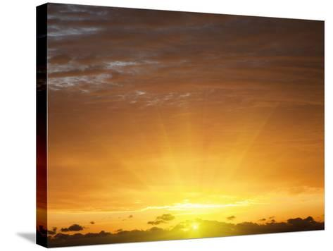 Red Sky at Sunrise over Atlantic Ocean, View from Miami Beach, Florida, USA, North America-Angelo Cavalli-Stretched Canvas Print