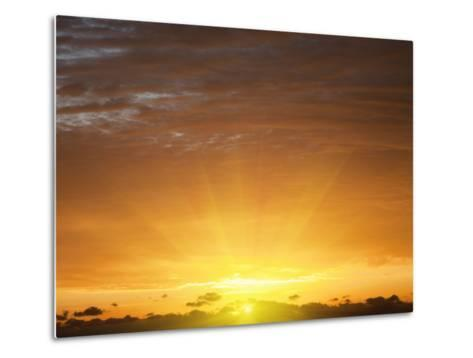 Red Sky at Sunrise over Atlantic Ocean, View from Miami Beach, Florida, USA, North America-Angelo Cavalli-Metal Print