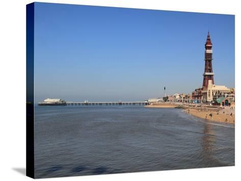 Tower, North Pier and Beach, Blackpool, Lancashire, England, United Kingdom, Europe-Rolf Richardson-Stretched Canvas Print